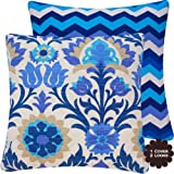 "Cinco de Mayo Outdoor Azure Blue Collection - 20"" Square Decorative Patio Pillow Cover with Outdoor Poly Insert - Navy, white, tan, citrine and shades of blue Hues - Floral and Chevron Zig Zag"