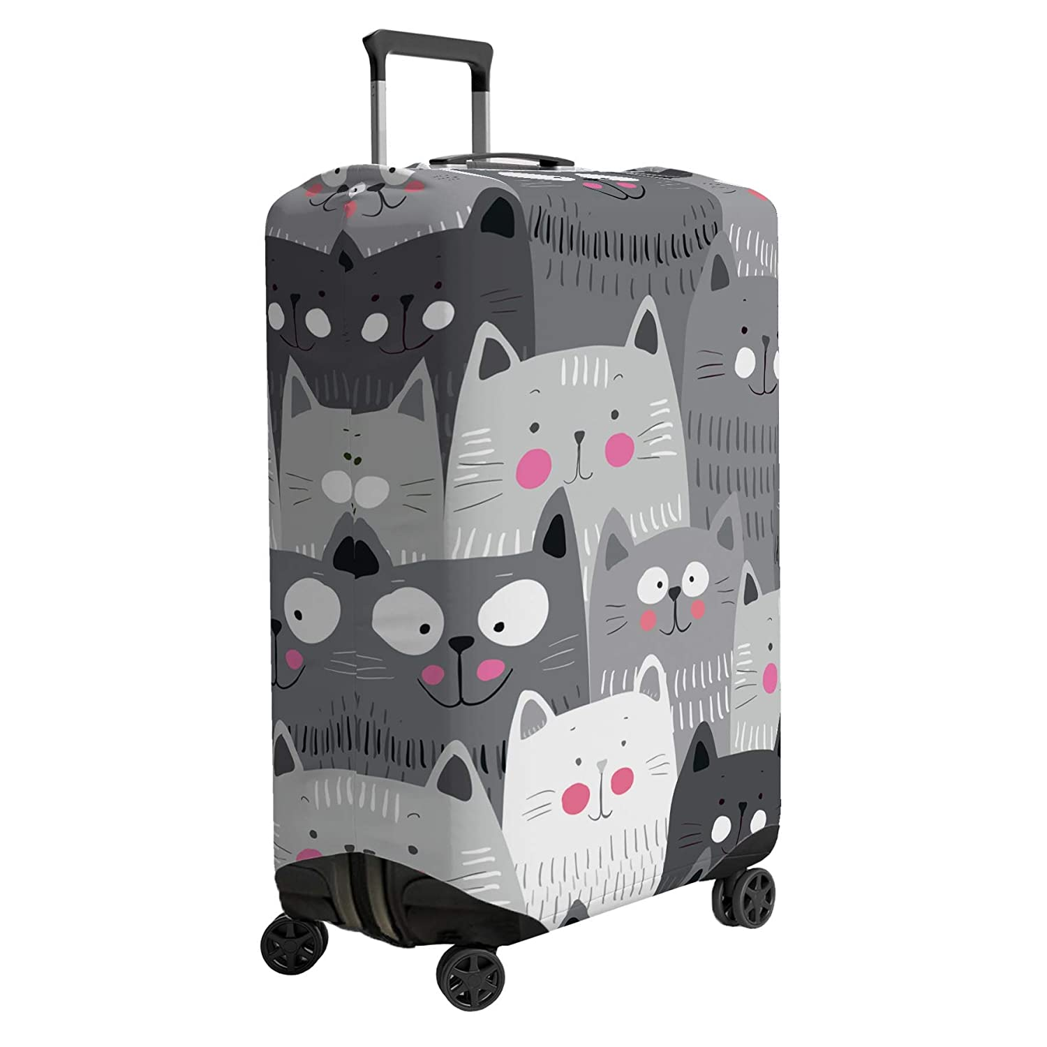 Suitcase NOT Included Cute Cat Faces Suitcase Cover Skin Protector Grey Small 18-22