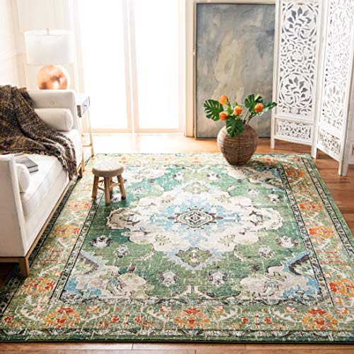Safavieh Monaco Collection MNC243F Vintage Oriental Forest Green and Light Blue Distressed Area Rug (6'7
