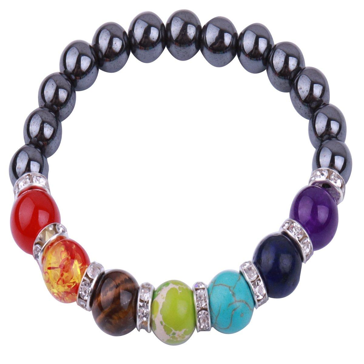 RUNXINTD Chakra Hematite Bracelet Healing Hematite Stretch Jewelry Stone Beaded Bracedlet 8MM (Hematite Bracelet)