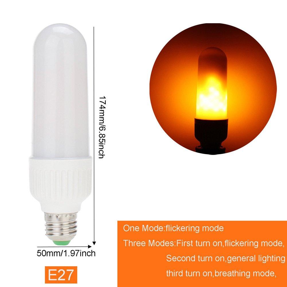 E26 E27 LED Flame Fire Light Effect Simulated Nature Corn Bulbs Christmas Decoration Lamp (E27, Three model)