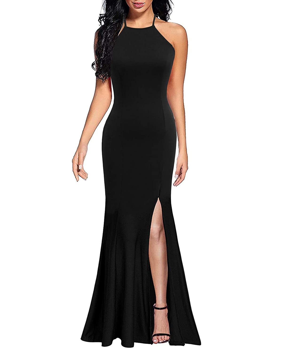 19a8dbacfb47 Lyrur Women s Sexy Spaghetti Straps Slit Formal Long Bridesmaid Maxi Party  Evening Dress Mermaid Prom Gown at Amazon Women s Clothing store