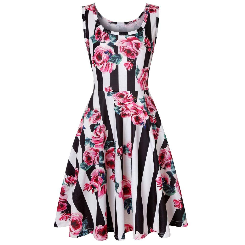 Euone Dress, Women Sleeveless Floral Print Summer Beach A Line Casual Dress Party Dress