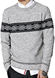 S&S Men's Fashion Gray Crew Geometric Sweater Pullover Jumper Sweater Relationship Sweaters
