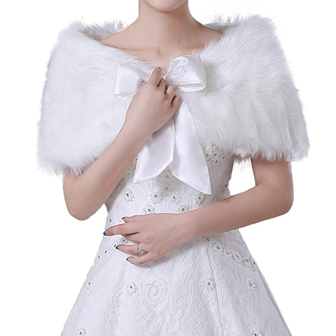 la più grande selezione di prezzo onesto elegante e grazioso Comtervi Sciarpa in pelliccia sintetica Stola in pelliccia per donna Sposa  da sposa scialle nuziale Stola nuziale