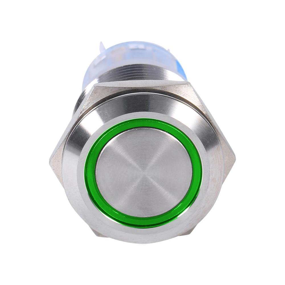19mm Waterproof Stainless Self-locking Button On//Off Latch Button Switch 1NO1NC 12V LED Self-locking Push Button Switch Red