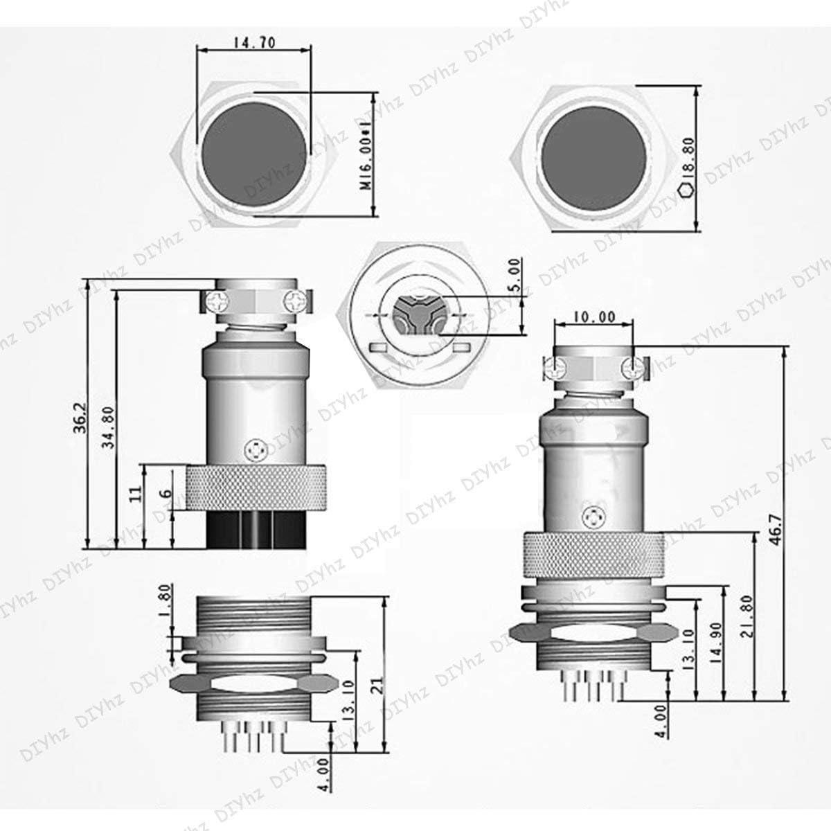 DIYhz GX16 9 Pins Panel Metal Mount Circular Metal Aviation Connector Adapter Male Female Plug Socket 5 Pcs