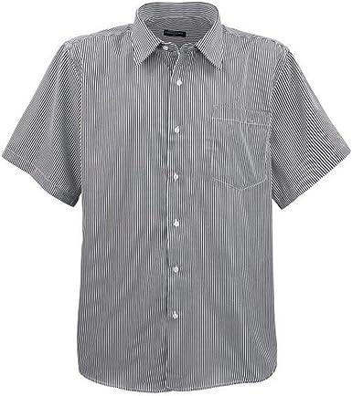 Lavecchia - Camisa para hombre, talla grande, manga corta, con rayas finas, color negro Negro 4XL: Amazon.es: Ropa y accesorios