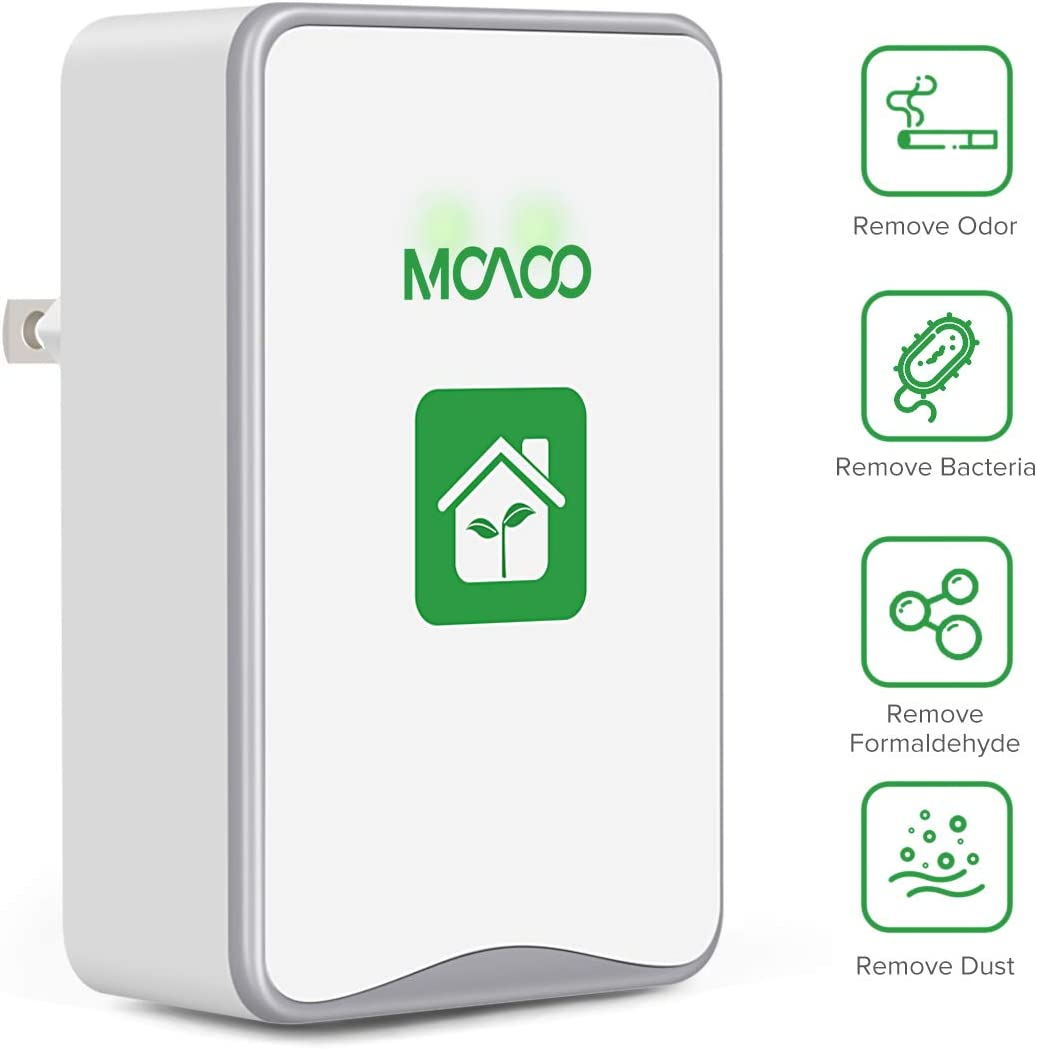 MOAOO Plug-in Air Purifier, Air Purifiers for Home, Air Purifier No Filter Portable Household Eliminator Air Ionizers for Remove Smoke, Dust, Odor