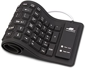Sungwoo Foldable Silicone Keyboard USB Wired Waterproof Rollup Keyboard for PC Notebook Laptop (All Black)