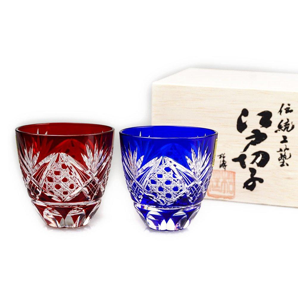 Set of 2 Edo Kiriko Guinomi Sake Cup Made In Japan Shot Glass Design Cut Glass Octagonal Pattern - Red & Blue [Japanese Crafts Sakura]