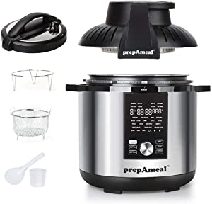 prepAmeal 8Qt Pressure Cooker & Air Fryer Combo with Pressure Lid and Air-Fry Lid - 7-in-1 cooking Modes, Easy Read LCD Display, 27 Presets Programs, & 8 Program Storage. (Silver, 8 Quart)