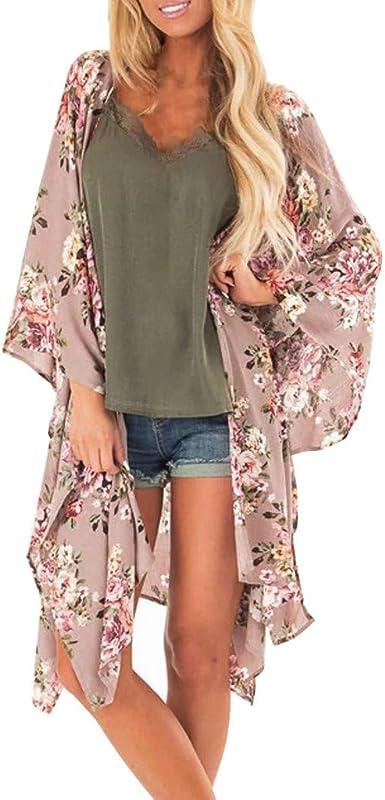 Floral Kimono Imprimé Veste Cardigan Femme Allegorly g7vb6fYy