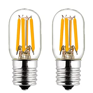LiteHistory E17 led Bulb ETL 25w Appliance t7 led Bulb 250lm 2700K 2w Microwave Light Bulb 2Pack