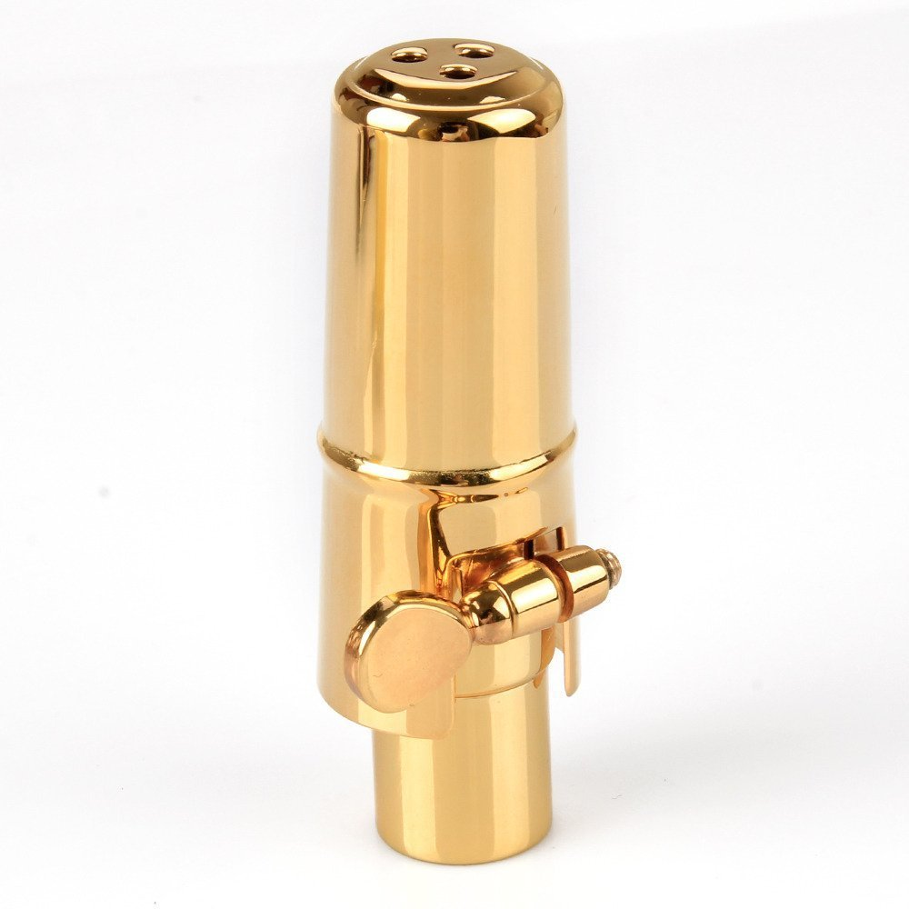 Aibay Gold Plated Metal Bb Soprano Saxophone Mouthpiece + Cap + Ligature #7 by Aibay® (Image #1)