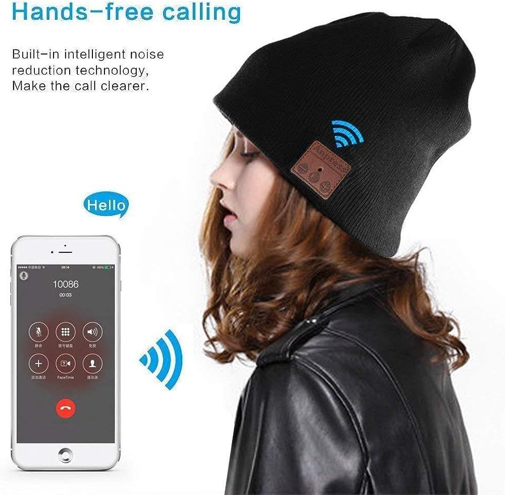 Anpress Bluetooth Beanie Headphones Skiing,Skating Black Winter Knitted Wireless Music Headset Hat for Men Women with Mic Stereo Speaker for Running Touchscreen Gloves