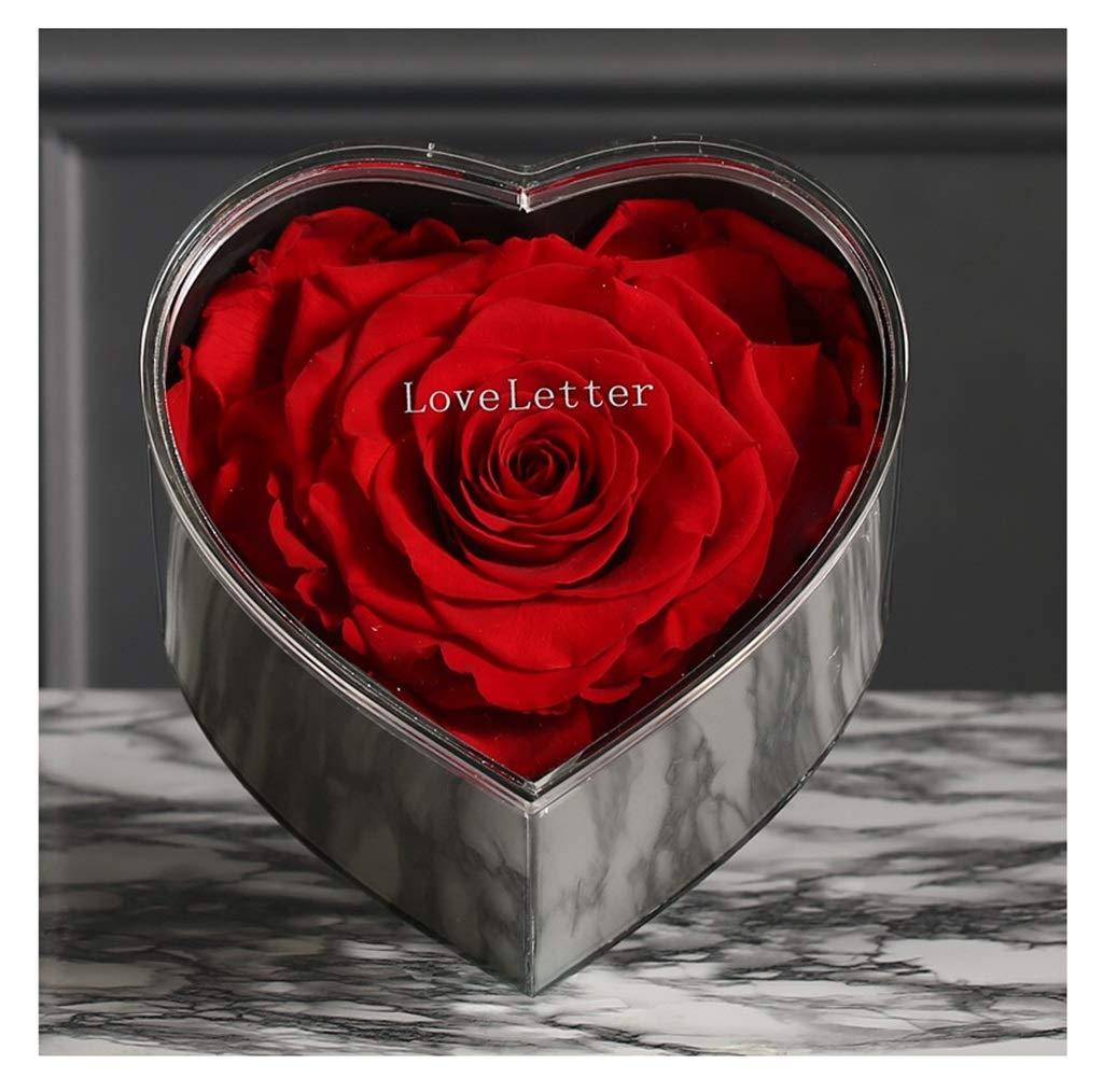 MWNV 永遠の花ローズハート形の花箱クリスマスバレンタインデーギフト誕生日ギフト永遠の花 - 造花 3233 B07SRTDPFG