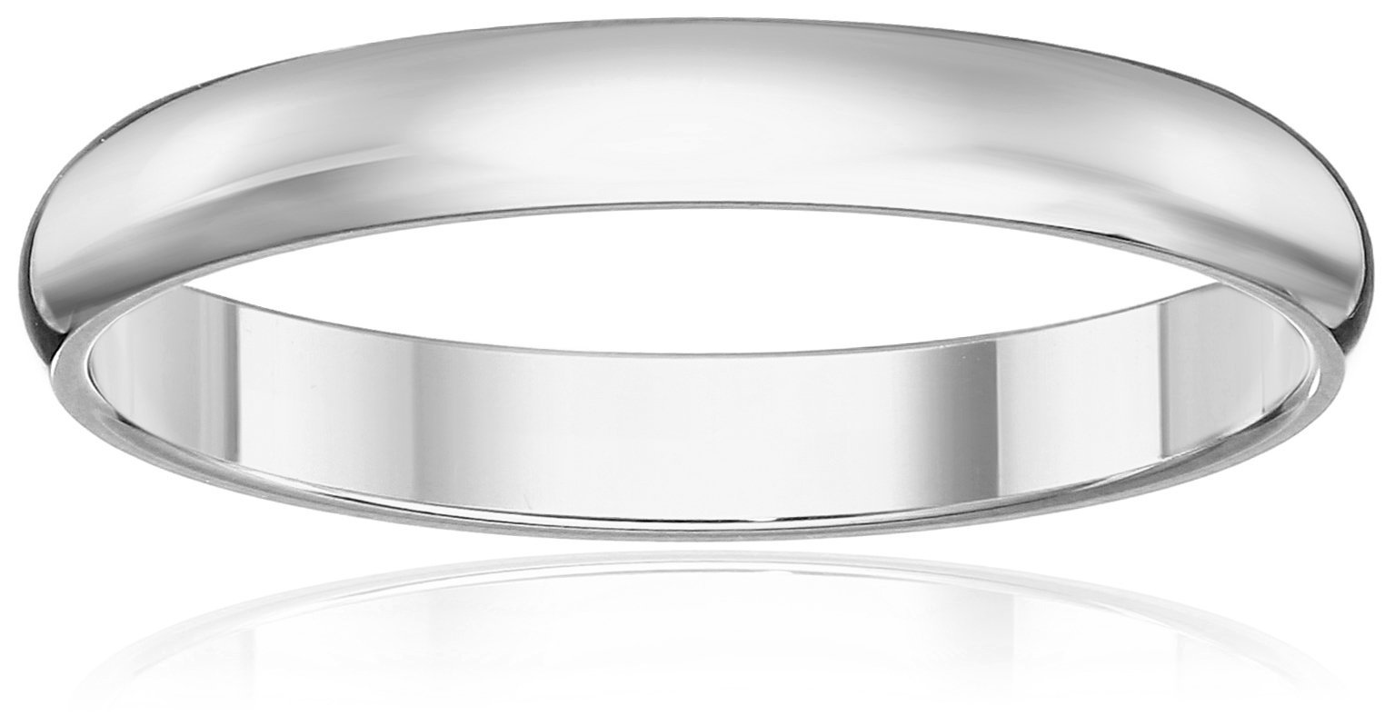 Classic Fit 10K White Gold Band, 3mm, Size 9.5