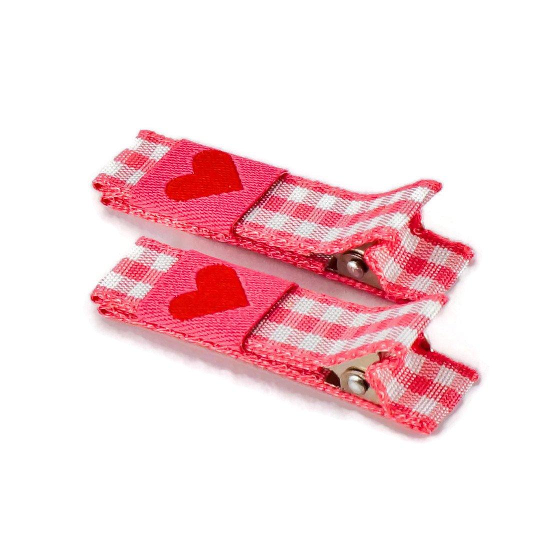 1 Paar hochwertige Haarspangen pink kariert - mit Stoff bezogen - KEIN ZIEPEN - Viele Variationen - Made in Gemany Anton & Sophie 3002