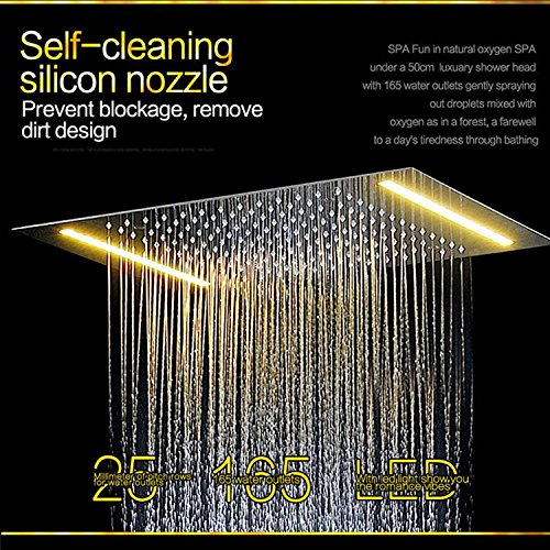 Gowe Electric LED Shower Set Embed Ceiling Shower Head,Spa Body Jets,Thermostat High Flow Bath Water Mixer Rain Shower Faucet Set 4