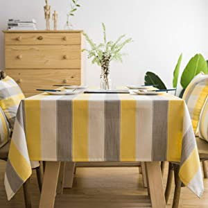 "Lamberia Cotton Linen Tablecloths for Rectangle Tables Heavyweight Burlap Table Cover for Kitchen Dinning Tabletop Decoration (Yellow Stripe, 55""x55"")"