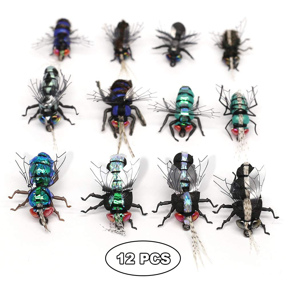 YZD Trout Fly Fishing Flies Collection Dry Wet Nymph Fly Assortment with Fly Box Flyfishing Flys Lures 12/16/18/22/36 Kits (Flesh Fly kit)