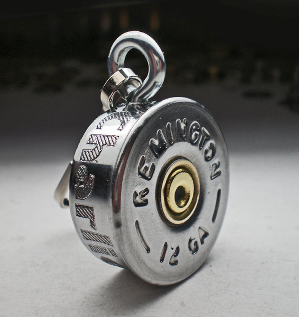 12 Gauge Shotgun Engraved Personalized Nickel Genuine Bullet Pet Tag Pet I.D.Tag