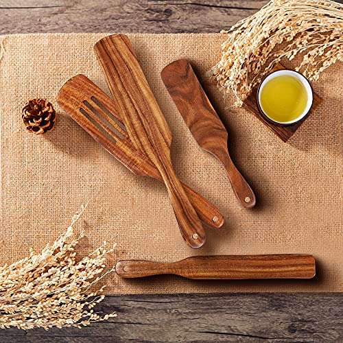 Wooden Spurtle Set Natural Teak Wooden Kitchen Utensil Sets with Non-Stick Wooden Spoons Slotted Spatula Set for Cooking & Stirring & Mixing & Turning -4 PCS