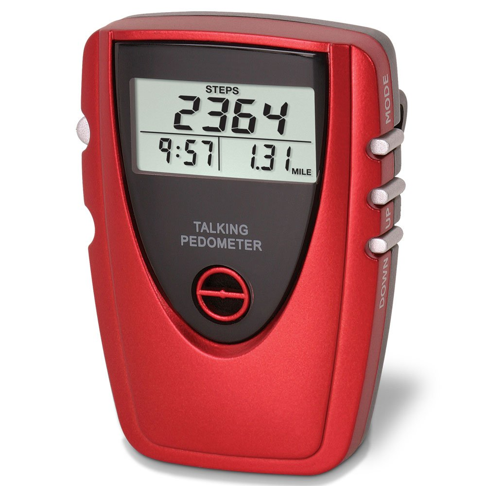 Talking Voice Pedometer with Clock - Red - Count Your Steps and Distance While Exercising