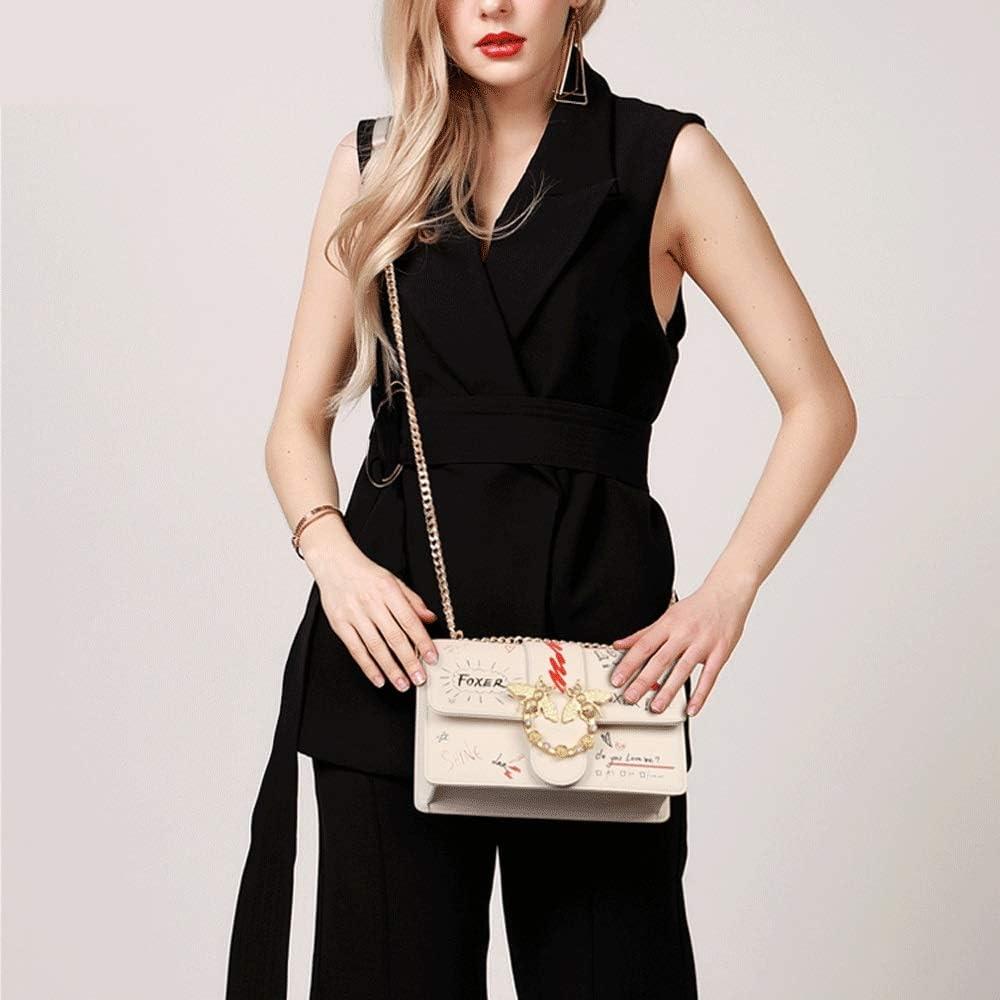 Teng Peng Ladies Handbag Crossbody Fashion Doodle Letter Chain Packet One Shoulder Swallow Bag Handbag Messenger Bag