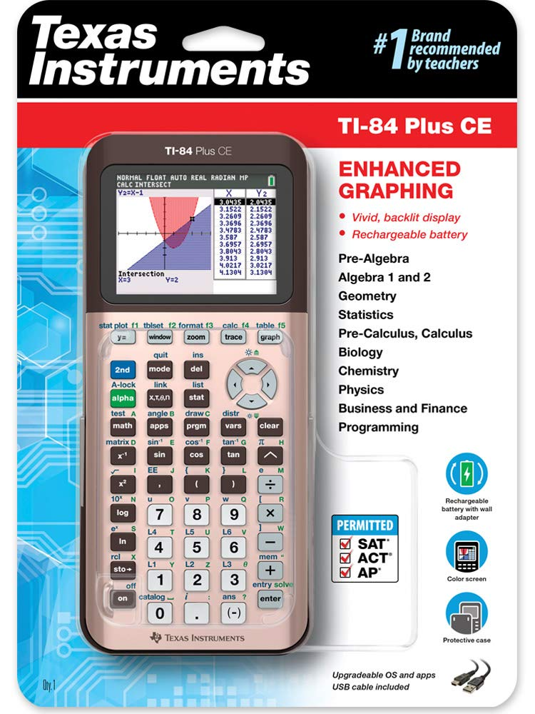 TI-84 Plus CE Color Graphing Calculator, Rose Gold by Texas Instruments
