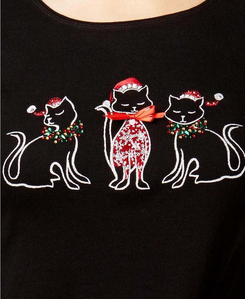 Karen Scott Petite Cotton Holiday Cat Graphic Top