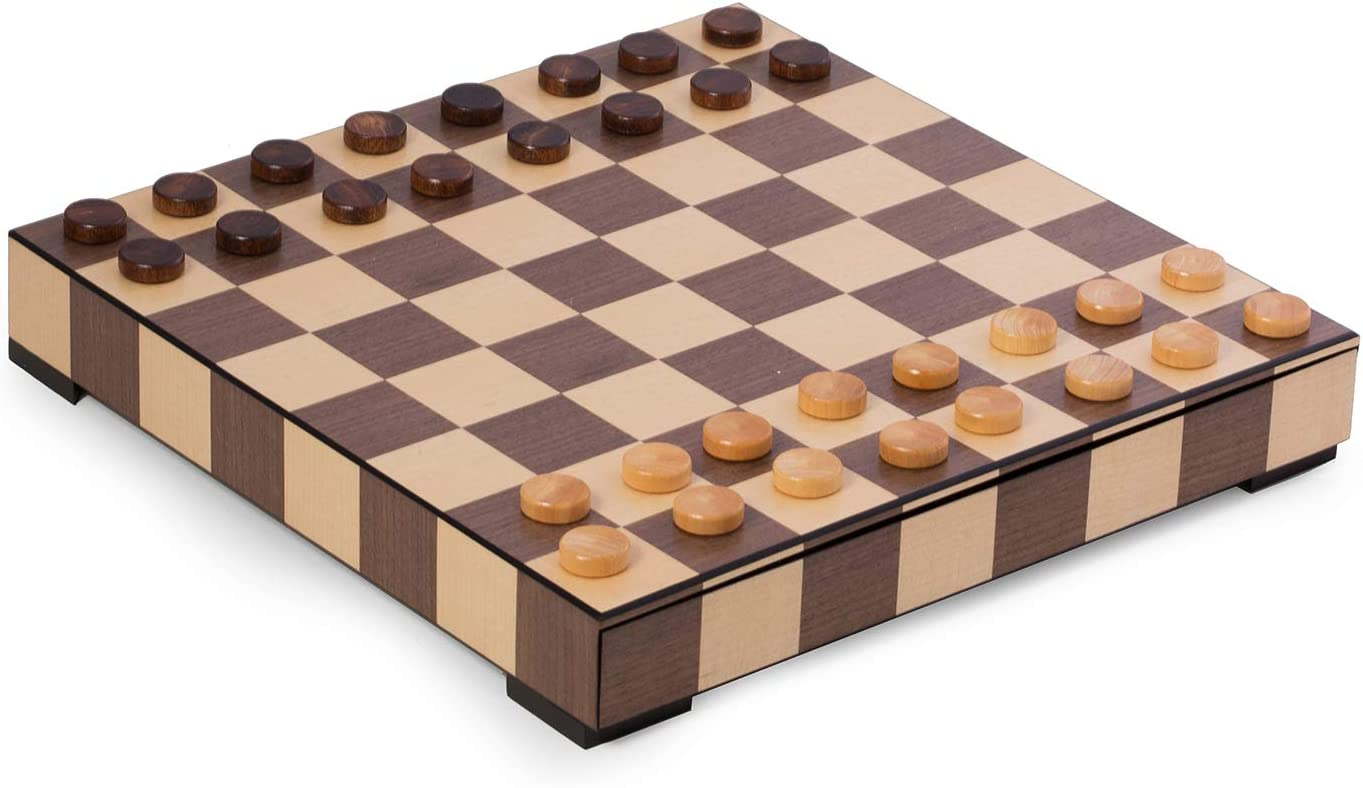 Amazon Com Designer Chess And Checkers Luxurious Mid Century Modern Walnut And Oak Inlaid Playing Board 14 X 14 With Drawer Storage Weighted Pieces And Felt Bottom Queen Measures 2 Toys