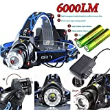 6000LM CREE XM-L T6 LED Focus Headlight Head Lamp Zoomable + 2x18650 +Charge