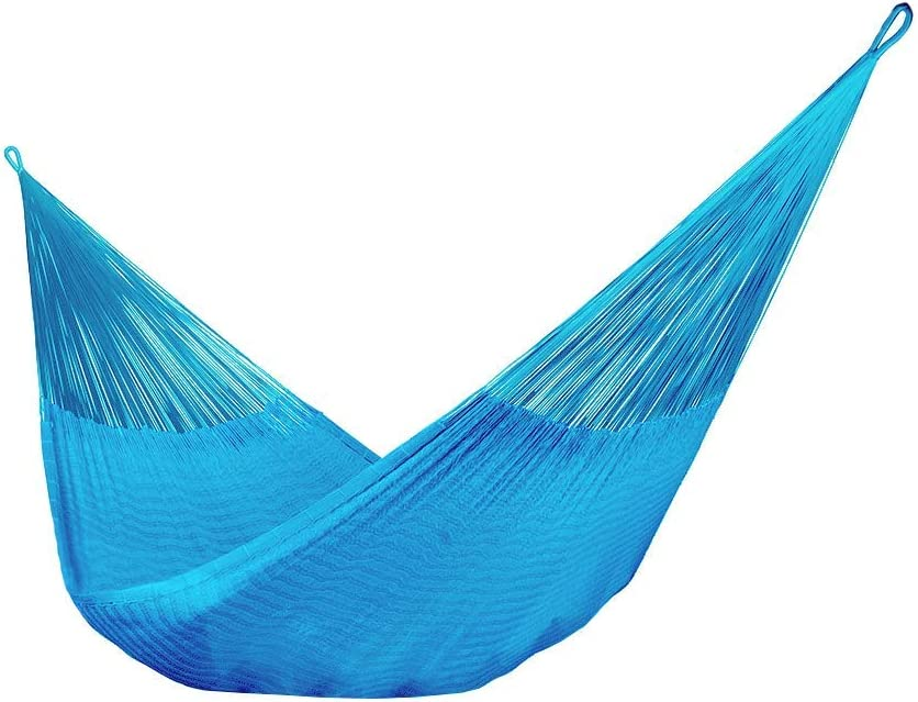 Sky Blue Handmade in Mexico Genuine Mayan Hammock Ideal for 3 people Family Size Cotton Hammock
