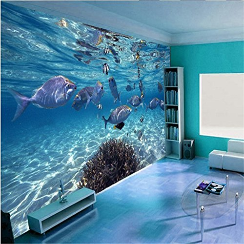 LHDLily 3D Wallpaper Mural Wall Sticker Thickening Custom Photo Stereoscopic Underwater World Of Marine Fish Living Children'S Tv 350cmX250cm by LHDLily