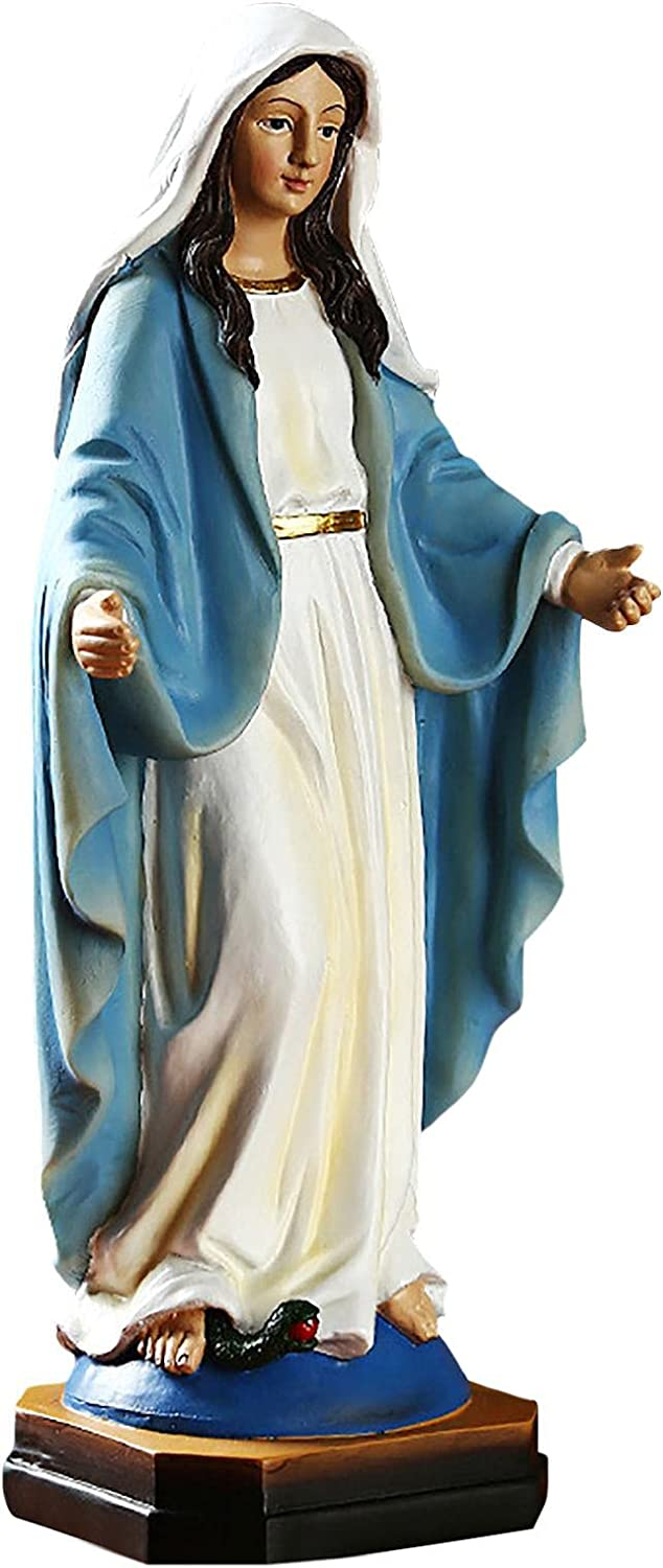 SKYLUNTH Virgin Mary Statue Our Lady of Grace Mary Garden Statue Resin Blessed Mother Statues Religious Church Supplies Icon of Our Lady Heavenly Protectors Catholic Gifts Full Color 882 Inch Cute