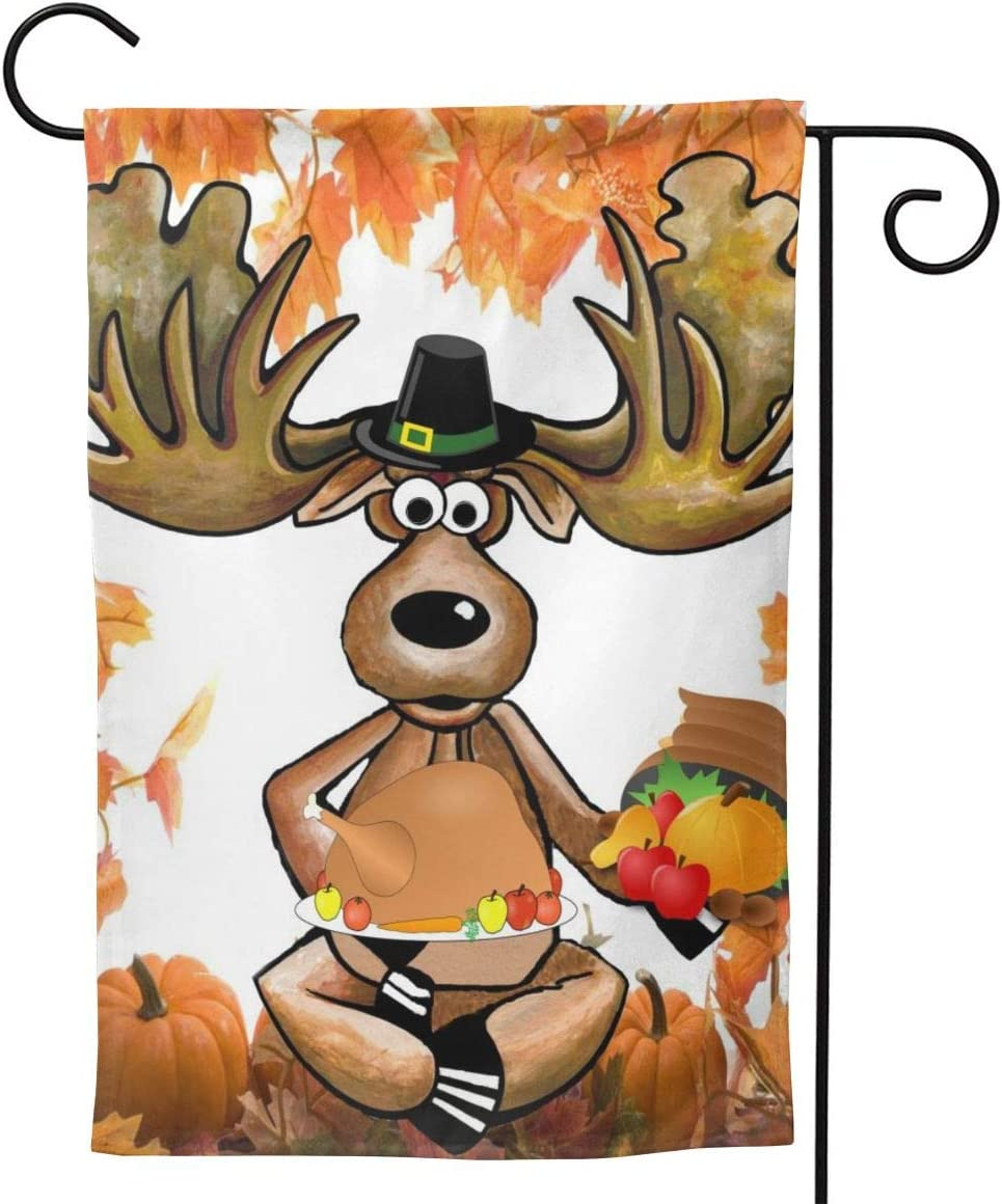 Thanksgiving Cartoon Moose Garden Flags Home Indoor & Outdoor Holiday Decorations,Waterproof Polyester Yard Decorative for Game Family Party Banner