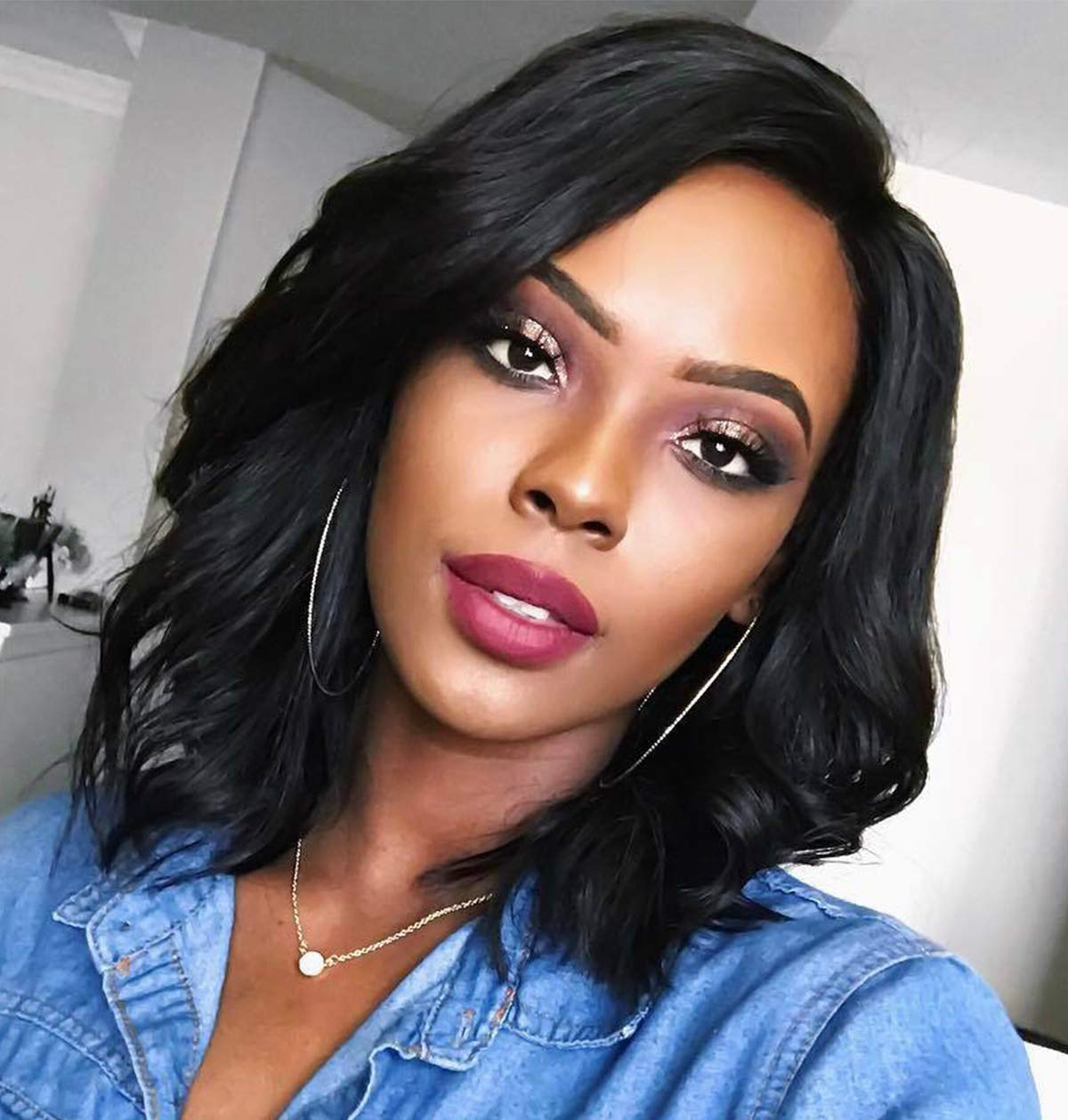 Amazon Com Short Bob Wigs For Black Women Wavy Curly Hair