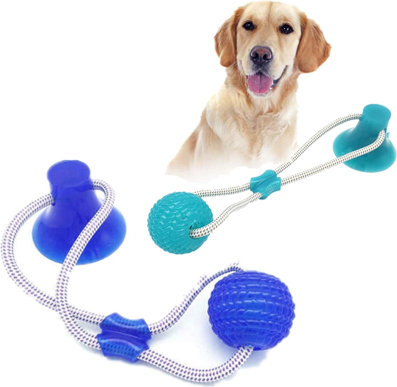 FOHYLOY Multifunction Pet Molar Bite Toy, Durable Dog Tug Rope Ball Toy with Suction Cup,Tugging, Pulling, Chewing, Playing for Dogs (2PCS)