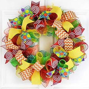 Summer Wreath | Teacher Gift Present | Classroom Decor | Birthday Party Mesh Front Door | Red Yellow 103
