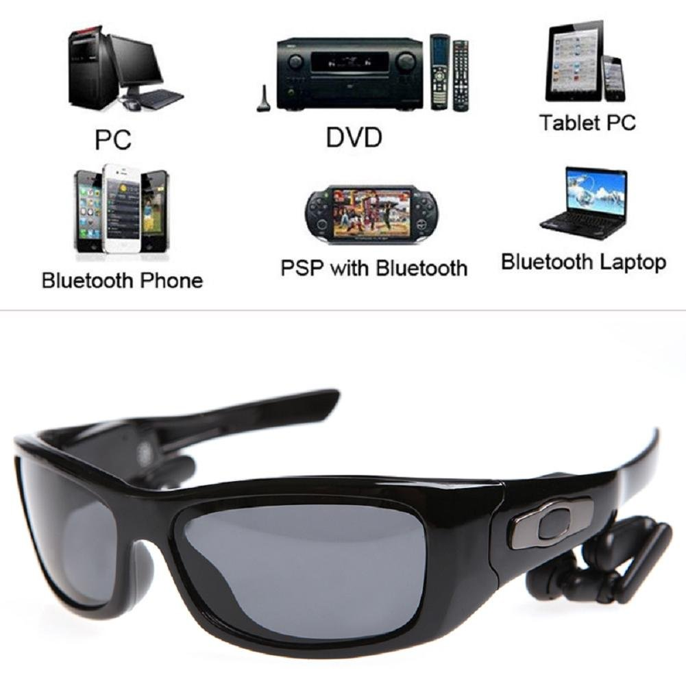 LIYUDL Bluetooth 4.0 A2DP Wireless Stereo Sunglasses Headset Handfree For Smart Phones by LIYUDL