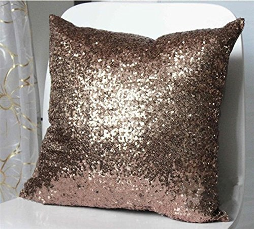 ShinyBeauty Sequin Pillow-18x18-Inch-Chocolate, Sequin Throw Pillow Case,Sequin Cushion Covers Lovely Home Decoration (Chocolate)