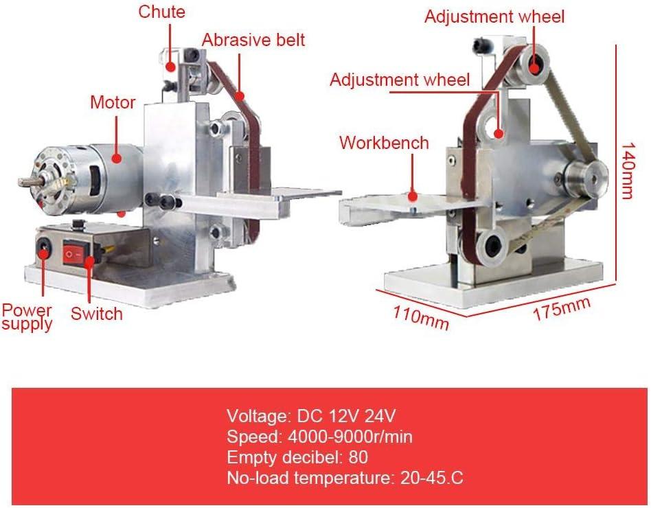 Yunt-11 DIY Mini Belt Sander,10//20 MM Wide Belt Polishing Machine with 7 Variable-Speed Control