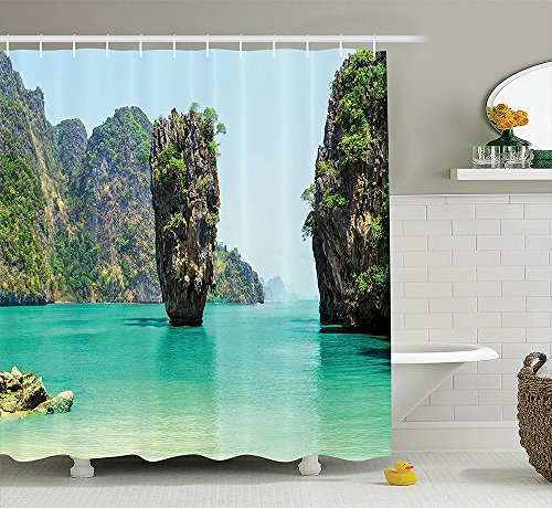 [Ocean Island Decor Collection James Bond Stone Island Landscape in Tropical Beach Cruising Journey of Life Photo Polyester Fabric Bathroom Shower Curtain Set Green] (Jaws James Bond Costume)