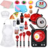 Anpro 32pcs Kids Kitchen Pretend Play Toys, Peeling and Cutting Play Food Toys, Realistic Induction Cooker with Sound Effects, Apron and Chef hat, Interesting Fruits and Vegetables