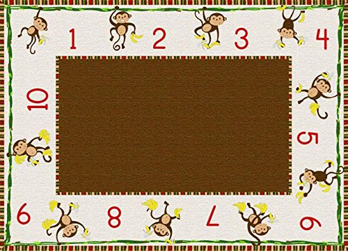 Flagship Carpets Games (Cushy Tushy(TM) Counting Monkeys Beige & Brown Carpet 6' x 8'4