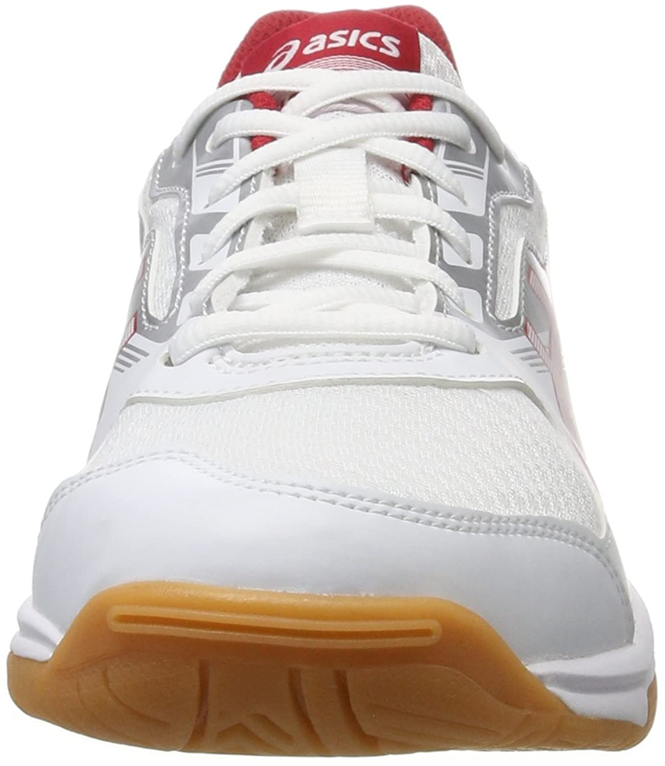Asics Upcourt 2, Chaussures de Volleyball Homme, Blanc (White/Prime Red/Silver 0123), 44 EU