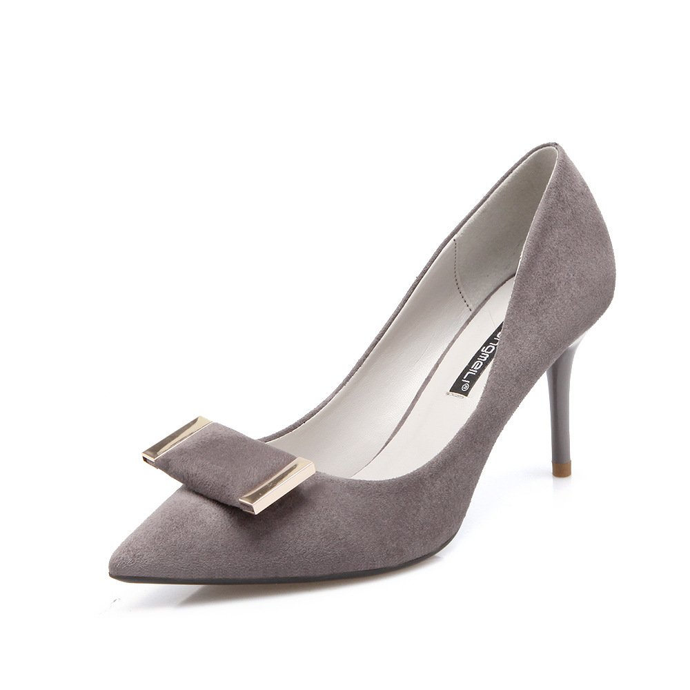 The tip of the Korean version of the high-heel shoes pointed high-heeled shoes fine with matt for the Women's singles shoes, gray 35 by YLSZ-High heels (Image #4)