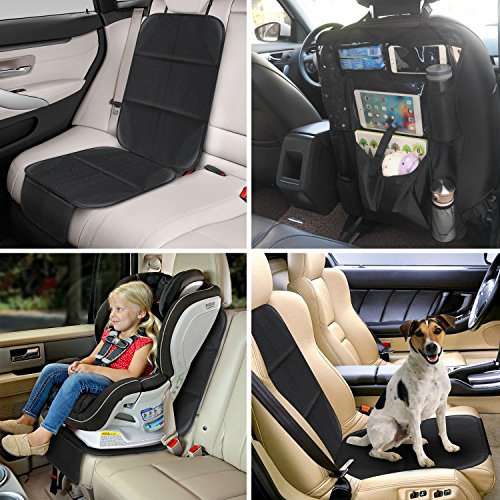 AOAFUN 1 Set Car Seat Protector&Kick Mat Auto Seat Back Protector,Extra Large Storage Pocket,Prevents Dirt and Damage-Allows Easy Access to Baby Items! (Black) by AOAFUN (Image #4)